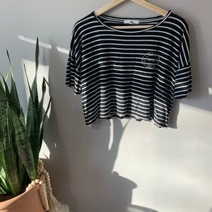 VANS Black and White Striped Crop Top